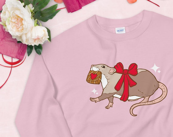Chocolate Thief Valentine's Day Pink Kawaii UNISEX Unique Printed Sweatshirt