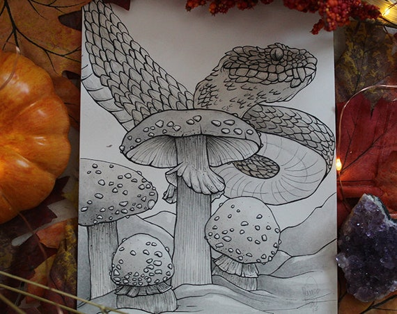 Viper and Mushroom Inktober Original Painting