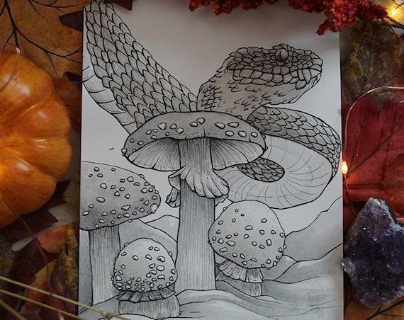 Viper and Mushroom Inktober Original Painting