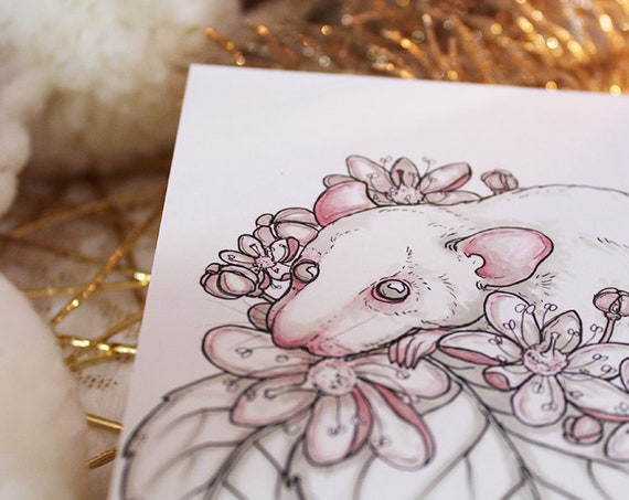 Linden Tea and Rat Inktober Original Painting