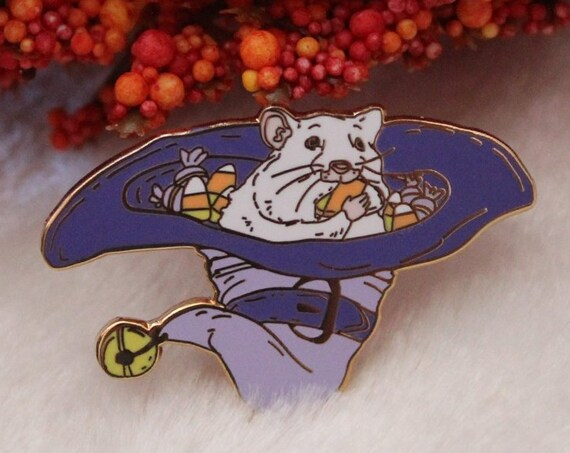 ON SALE Purple Candy Corn Hamster Rat Hallowen Witchy Hard Enamel Pin