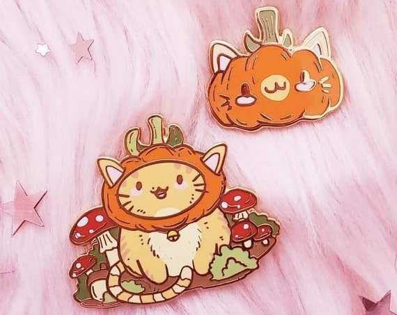 PumpKiki Pumpkin and Mushroom Cat Hard Enamel Pins and Stickers