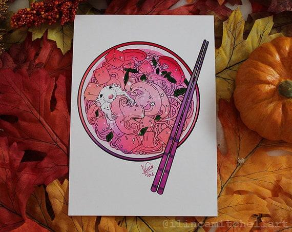 Ramen Rat Halloween Handmade Fine Art Giclee Print