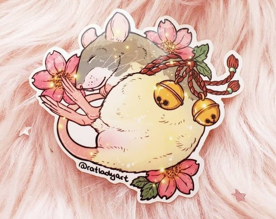 Cherry Blossom Bell Rat and Mouse Weatherproof Die-Cut VinylStickers