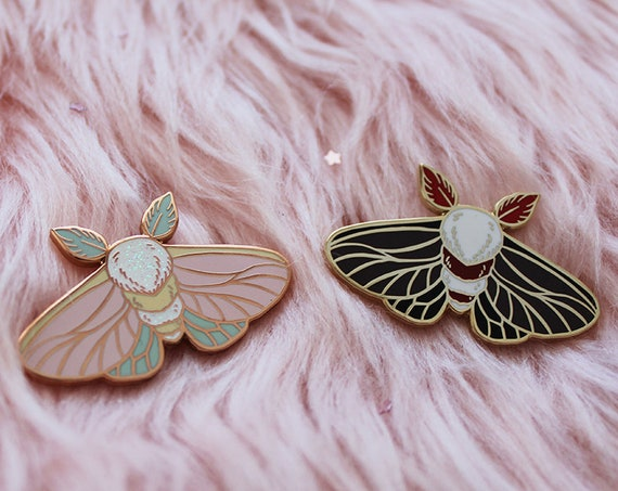 Tiny Moth Enamel Pins Rose Gold Pastel Goth