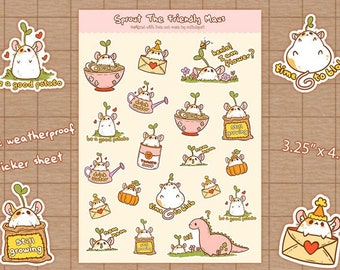 Sprout the Friendly Maus - Planner Stickers   Stationery, Scrapbooking, Bullet Journal   Rat Lady Art   Bujo Stickers