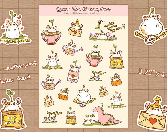 Sprout the Friendly Maus - Planner Stickers | Stationery, Scrapbooking, Bullet Journal | Rat Lady Art | Bujo Stickers
