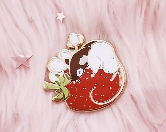 Strawberry Rattie Hard Enamel Pin and Diecut Vinyl Stickers