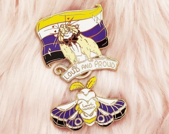 Nonbinary Pride Flag Hard Enamel Pin Rat and Moth Enamel Pin