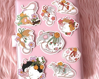 LAST CHANCE Patreon Sticker Collection - Cherry Blossom Bell Rat and Mouse Weatherproof Die-Cut Vinyl Stickers