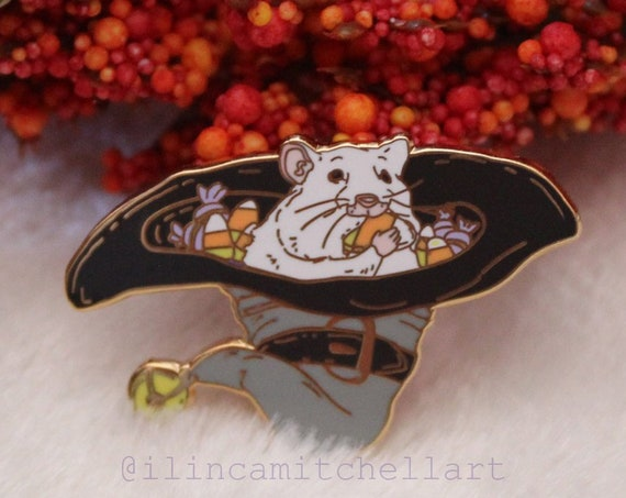 ON SALE Black Candy Corn Hamster Rat Hallowen Witchy Hard Enamel Pin