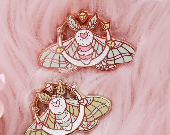 Crystal Moon Moth Hard Enamel Pin Rose Gold Pastel Glitter