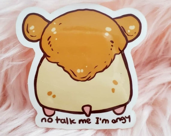No Talk Me I'm Angy Hamster Die-cut Glossy Stickers