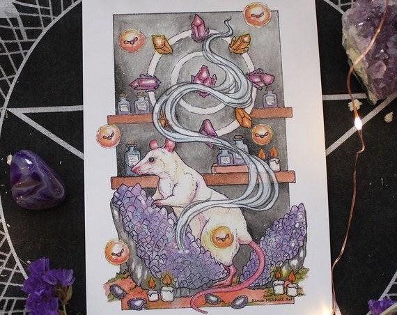 February Birthstone Altar Offerings Rat and Amethyst Fine Art Print