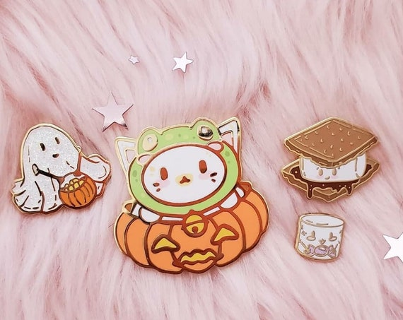 Halloween Collection Cat and Frog Hat Marshmallow Filler Pin Ghost and Smores Hard Enamel Pins