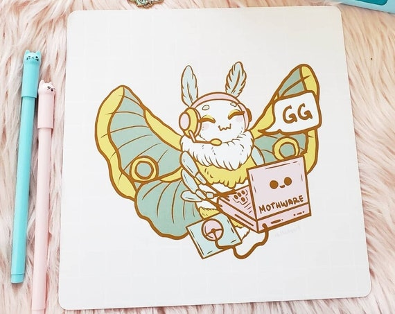 Gaming Moth Pig Square Art Print with Rounded Corners Pastel Video Games