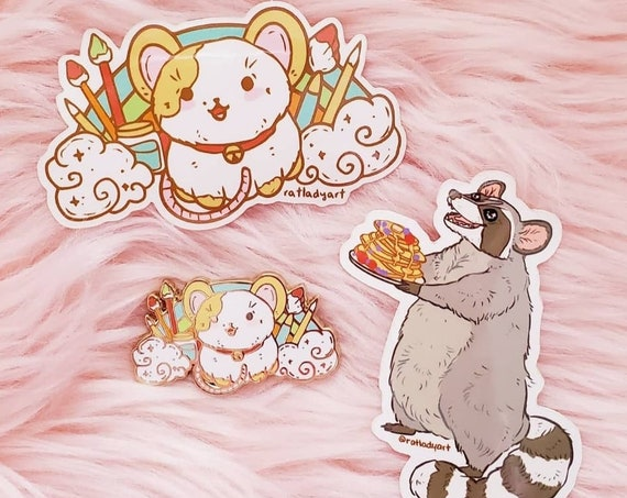 MARCH 2021 Rainbow Arts and Crafts Rat Mouse and Pancake Raccoon Hard Enamel Pin Gold Metal and Die-cut Sticker