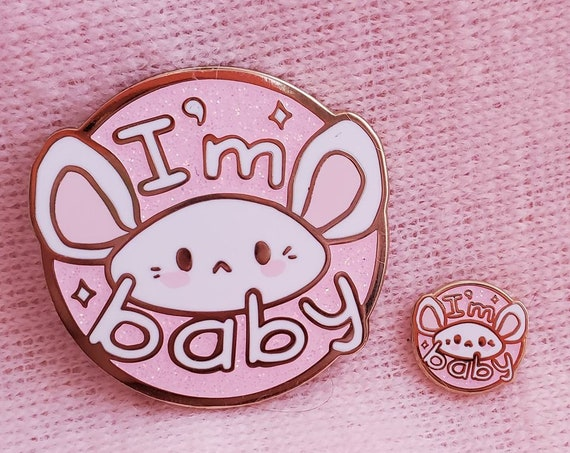 I'm Baby Kawaii Mouse Glitter Hard Enamel Pin