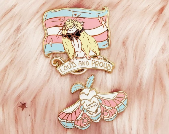 Trans Pride Flag Hard Enamel Pin Rat and Moth Enamel Pin