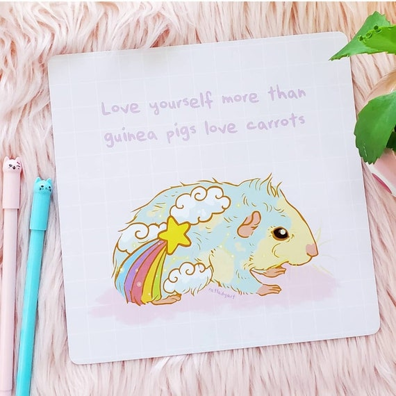Holographic Positivity Guinea Pig Square Art Print with Rounded Corners Pastel Rainbow Love Yourself