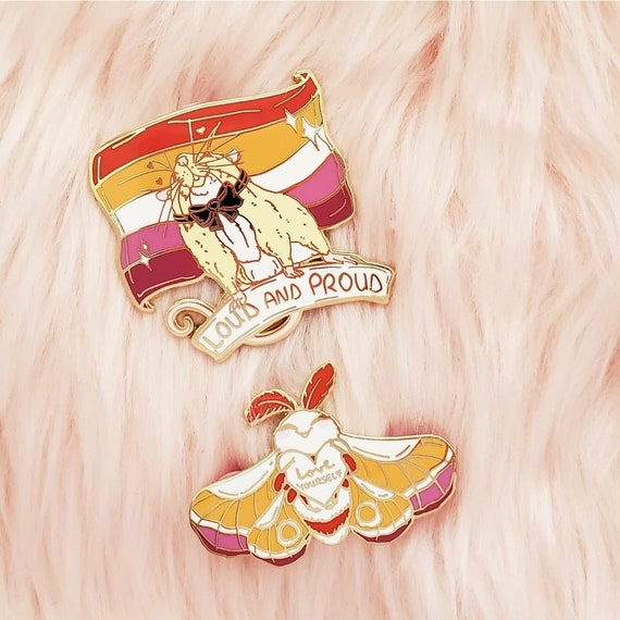 Lesbian Pride Flag Hard Enamel Pin Rat and Moth Enamel Pin