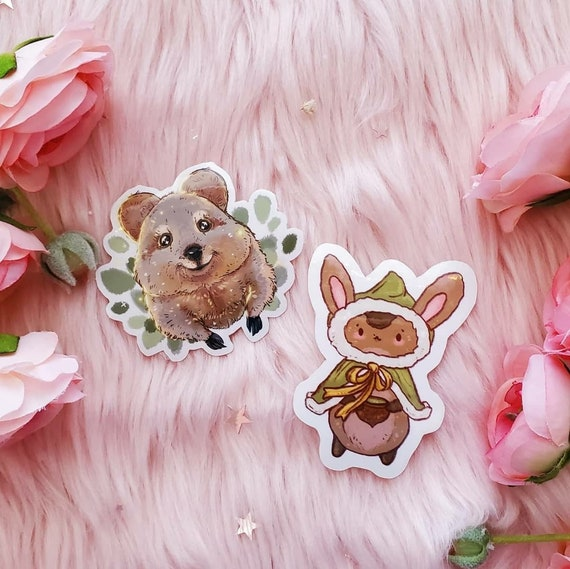Quokka and Bunny Adventurer Weatherproof Die-Cut Vinyl Glossy Stickers