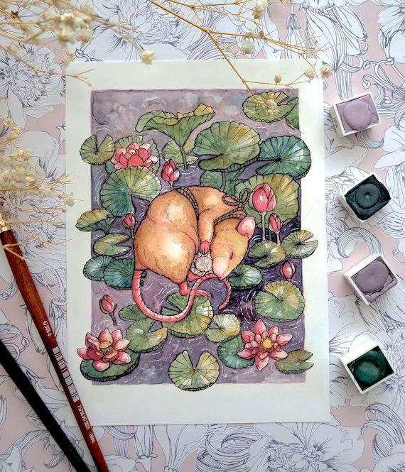 Diamond Desolation April Birthstone Rat and Lotus Flowers  Fine Art Print