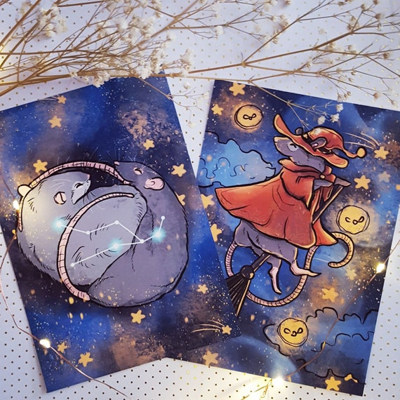 5x7 Constellations and Witches Taurus Cuddling Rats Fine Art Print