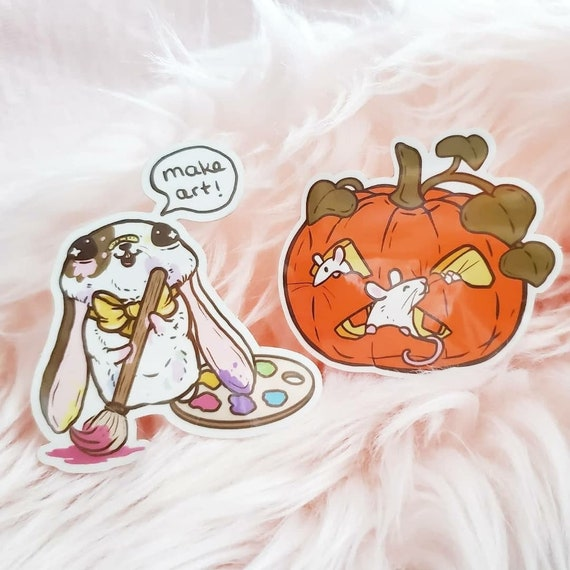 Art Bunny and Jacko Lantern Pumpkin Ratties Diecut Vinyl Stickers