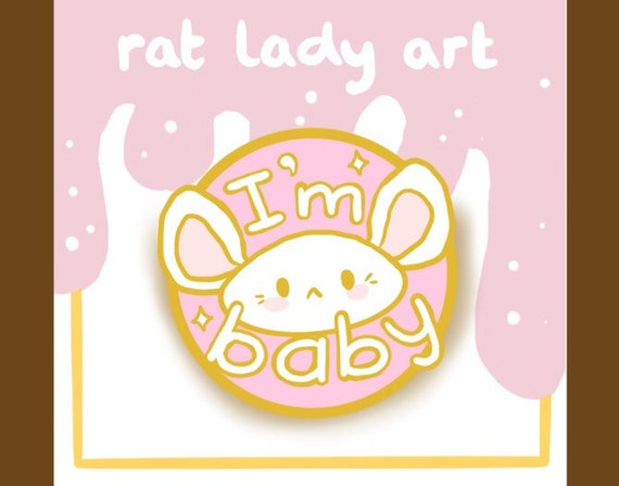 PREORDER I'm Baby Kawaii Mouse Glitter Hard Enamel Pin