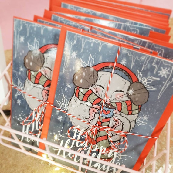 CHARITY ITEM Holiday Folded Notecards with Envelope Christmas Rat Holiday Pet