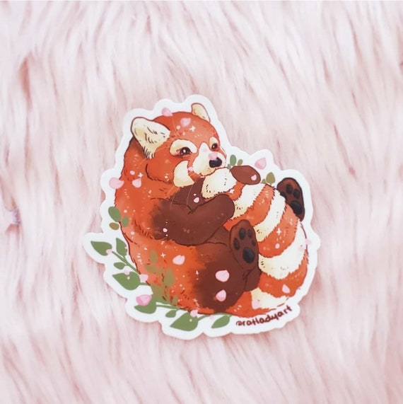Red Panda Tail Nom Diecut Matte Vinyl Stickers
