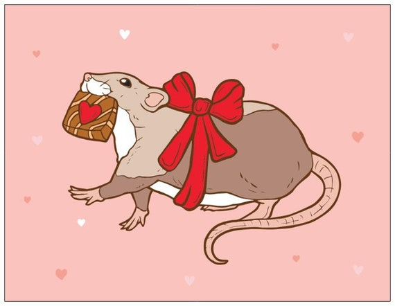 "PREORDER Unique Valentine's Day Card Chocolate Thief Rat Pink Hearts Note Cards - 5.5"" x 4"" Folded - Linen"