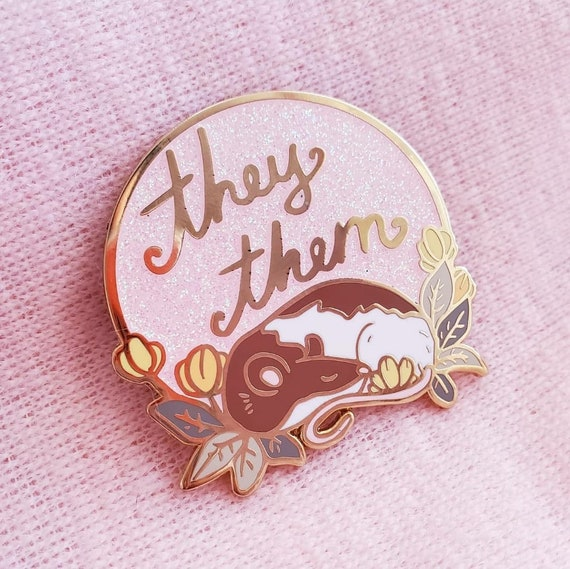 PINK They/Them Pronoun Hard Enamel Pins Glitter Pride Rats