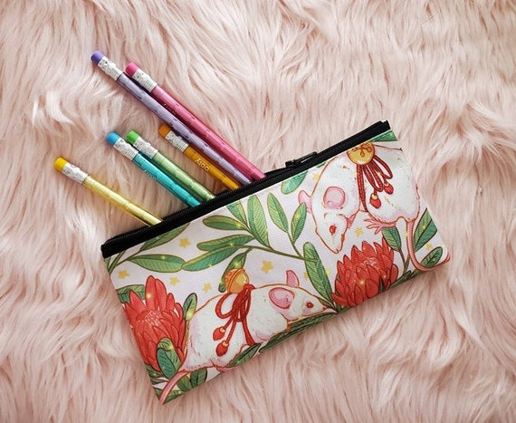 Zipper Pouch Rats and Protea Flowers and Leaves Canvas Fabric Pencil Case