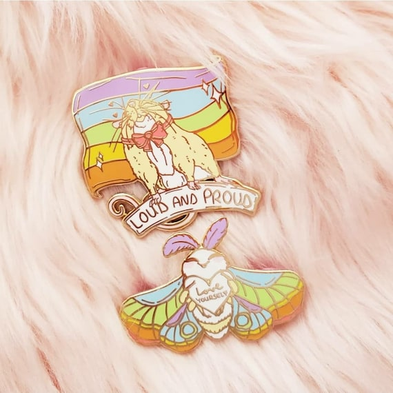 Gay Pride Rainbow Flag Hard Enamel Pin Rat and Moth Enamel Pin