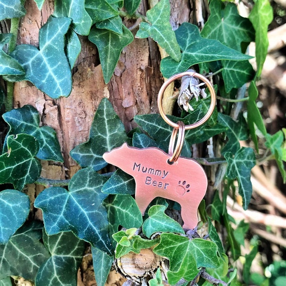 ID Tag Bear Dog Tag Hand Stamped