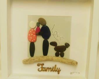 Family Pebble Art Picture