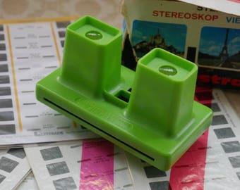 Vintage Stereoscope, Lourdes Gavarnie, Stereoscopic Viewer, Three D 3D,  Simplex Viewer, Seven Slide Reels, Bright Green, Photograph Viewer