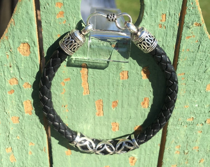 5mm Bolo Braided Leather with Bali Handmade Sterling Silver Tube and .925 Sterling Silver Hook Clasp- Only 1 Available