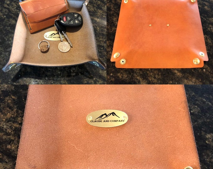 "Leather Valet Tray- Snap Style 8""X8"" Orange/Tan"