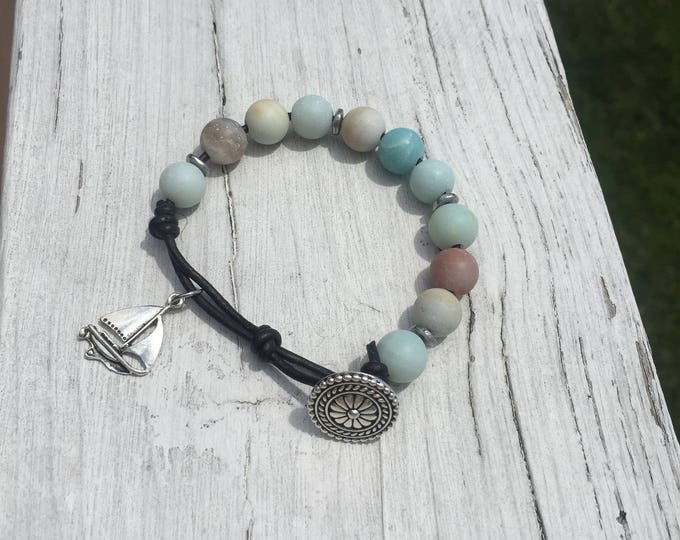 Amazonite and Silver Beads w/ Sailboat Charm and Button Clasp on Leather!