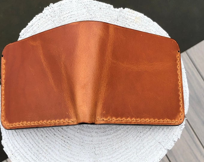 Handmade Avancorpo Leather Bifold Wallet- Tumbled Whiskey