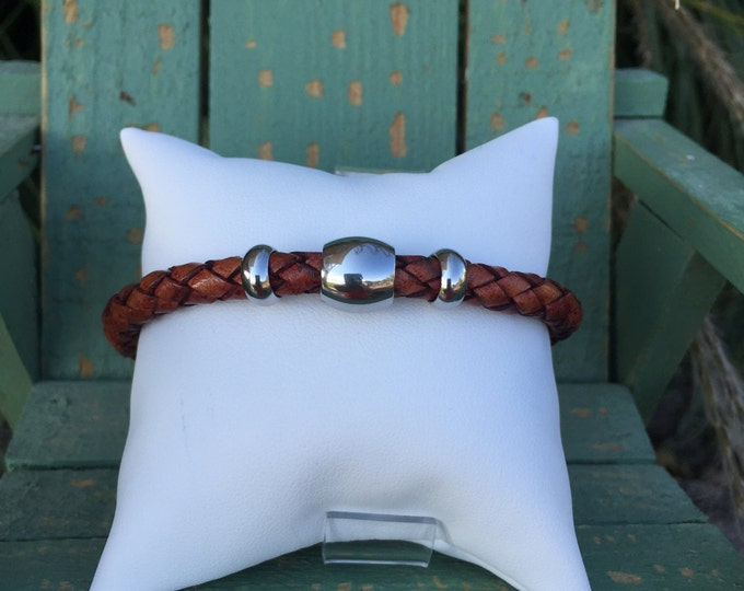 6mm Antique Tan Bolo Braided Leather w/ Smooth Stainless Steel Beads and Very Strong Magnetic Clasp