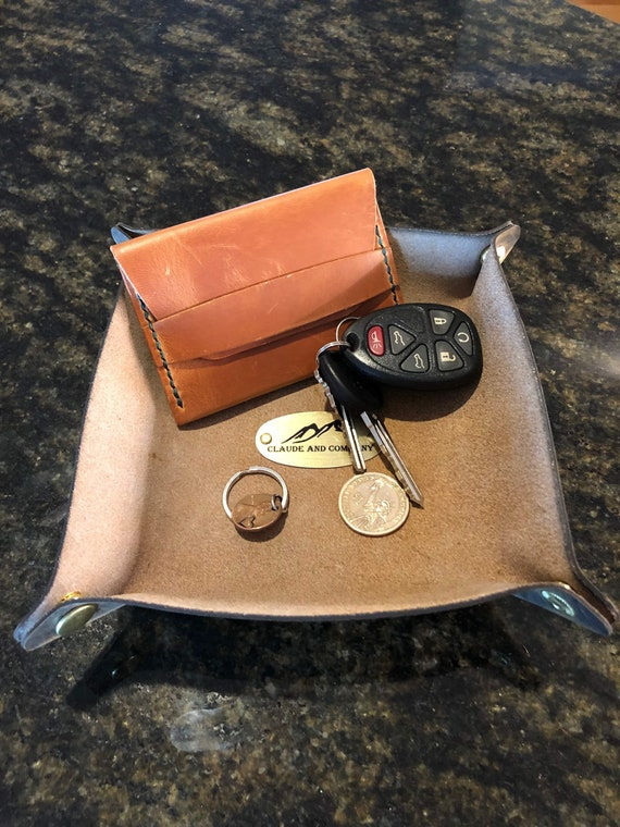 Leather Valet Tray- Crazyhorse Brown/Tan- Snap Style