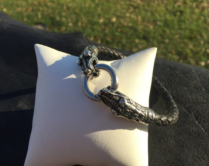 Dragon Bracelet on Nice 6mm Bolo Braided Leather Cord- 304 Stainless Steel Finding