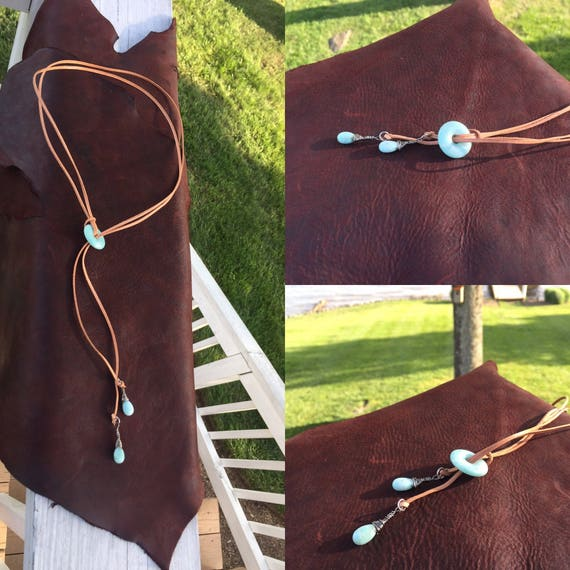 Amazonite Gemstone Lariat Necklace with Natural Calf Lace Leather