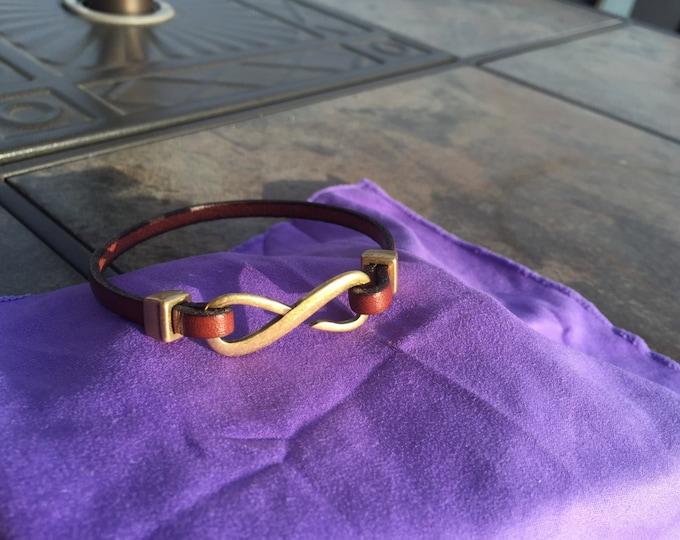 Fine Italian Leather Infinity Loop Bracelet