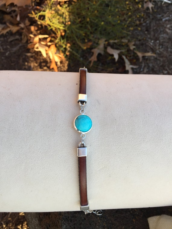 Turquoise and Silver Zamak Bracelet on 5mm Italian Cognac Leather with an Adjustable Lobster Claw Clasp and Chain