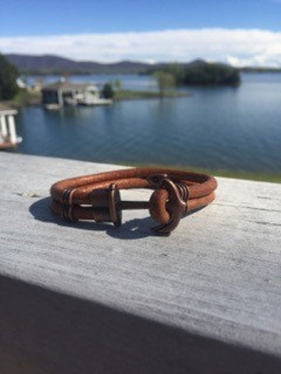 5mm Antique Copper Anchor Clasp Bracelet on Very Nice Natural Brown Smooth Leather Cord